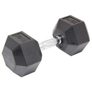 Fitness Mania - 25kg Commercial Rubber Hex Dumbbell Gym Weight
