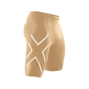 Fitness Mania - 2XU Mens Compression Shorts - Beige/Silver Logo