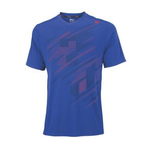 Fitness Mania - Wilson Blur Plaid V-Neck Mens Tennis T-Shirt - Blue Iris/Coal