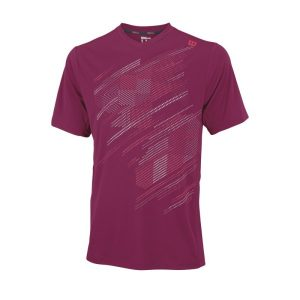 Fitness Mania - Wilson Blur Plaid V-Neck Mens Tennis T-Shirt - Merlot/Neon Red