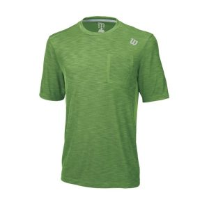 Fitness Mania - Wilson Textured Crew Mens Tennis T-Shirt - Meadow Green/Silver