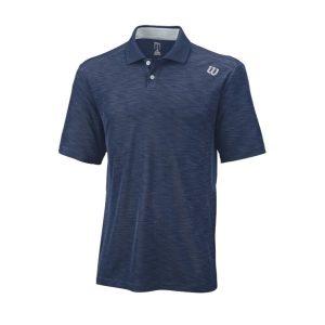 Fitness Mania - Wilson Textured Mens Tennis Polo Shirt - Navy/Silver