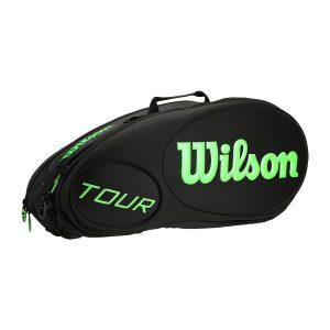 Fitness Mania - Wilson Tour Molded 6 Pack Tennis Racquet Bag - Black/Green