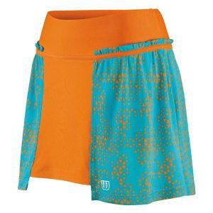 Fitness Mania - Wilson Up A Set - Womens Tennis Skirt - Orange/Oceana