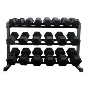 Fitness Mania - 3 Tier Rubber Hex Dumbbell Rack