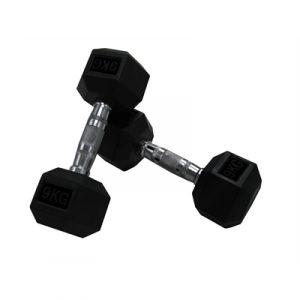 Fitness Mania - Brawn Strength Rubber Hex Dumbbell - 17.5kg