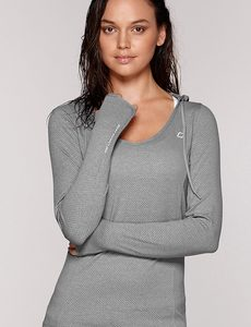 Fitness Mania - Abbey Hooded Excel L/Slv Top Grey Marl M