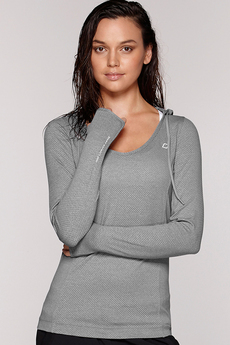 Fitness Mania – Abbey Hooded Excel L/Slv Top Grey Marl XS
