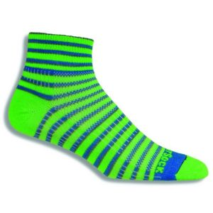Fitness Mania - Wrightsock Coolmesh II Anti-Blister Quarter Running Socks - Stripe Green/Blue/Grey