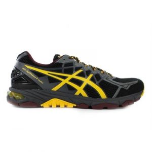 Fitness Mania - ASICS Mens Gel-Fuji Trabuco 4 Neutral Black/Yellow/Royal Burgundy
