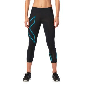 Fitness Mania - 2XU ICE Mid-Rise Womens 7/8 Compression Tights - Black/Cool Blue