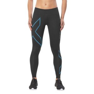 Fitness Mania - 2XU ICE Mid-Rise Womens Compression Tights - Black/Cool Blue