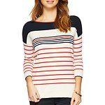 Fitness Mania - 3/4 Sleeve Multi Stripe Boxy Sweater