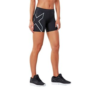 Fitness Mania - 2XU 5 Inch Womens Compression Shorts - Black/Silver