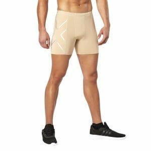 Fitness Mania - 2XU Compression Mens Half Shorts - Beige/Silver