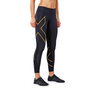 Fitness Mania - 2XU MCS Run Womens Compression Tights - Black/Gold Reflective