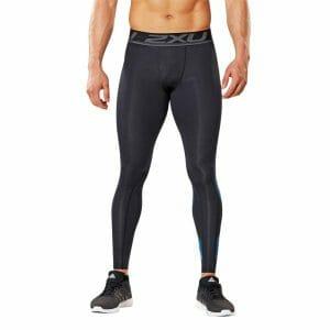 Fitness Mania - 2XU Accelerate Mens Compression Tights - Black/Arrow Stripe Director Blue