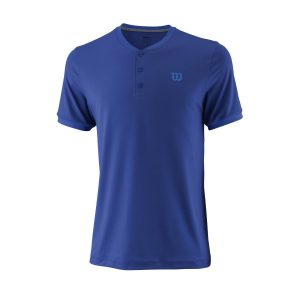 Fitness Mania - Wilson Urban Wolf 2 Henley Mens Crew Tennis T-Shirt - Mazzarine Blue/Price Blue