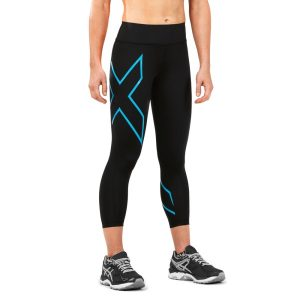 Fitness Mania - 2XU Bonded Mid-Rise Womens 7/8 Compression Tights - Dresden Blue/Black