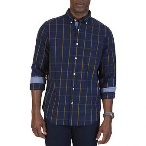 Fitness Mania - WINDOWPANE POPLIN LONG SLEEVE SHIRT