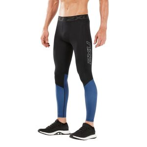Fitness Mania - 2XU Accelerate Mens Compression Tights With Storage - Black/Galaxy Blue