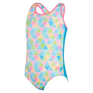 Fitness Mania - Zoggs Eternity Actionback Kids Girls One Piece Swimsuit - Multi/Turquoise