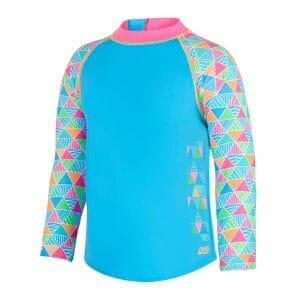 Fitness Mania - Zoggs Eternity Zip Kids Girls Swimming Sun Top - Turquoise/Multi