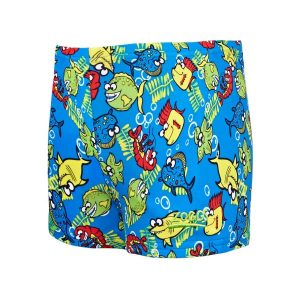Fitness Mania - Zoggs Fishy Business Hip Racer Kids Boys Swimming Shorts - Blue