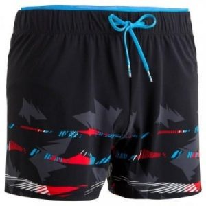 Fitness Mania - 150 MEN'S SHORT SWIM SHORTS - BLACK/RED