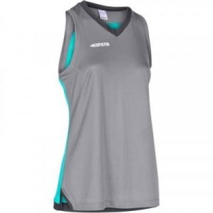 Fitness Mania - Womens Basketball Jersey B500 - Gray and Turquoise