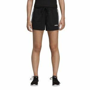 Fitness Mania - Adidas Essentials 3-Stripe Womens Cotton Shorts - Black/White