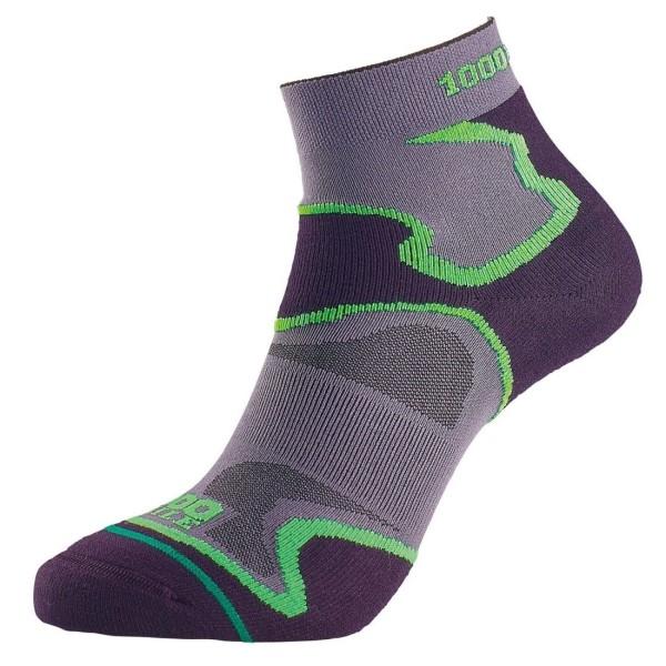 Fitness Mania – 1000 Mile Fusion Anklet Mens Sports Socks – Black/Green