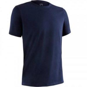 Fitness Mania - 500 Short-Sleeved Regular-Fit Gym & Pilates T-Shirt - Navy Blue