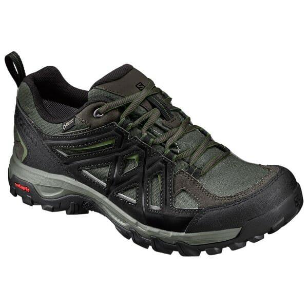 Fitness Mania – Salomon Evasion 2 GTX – Mens Trail Hiking Shoes – Castor Gray/Black/Chive