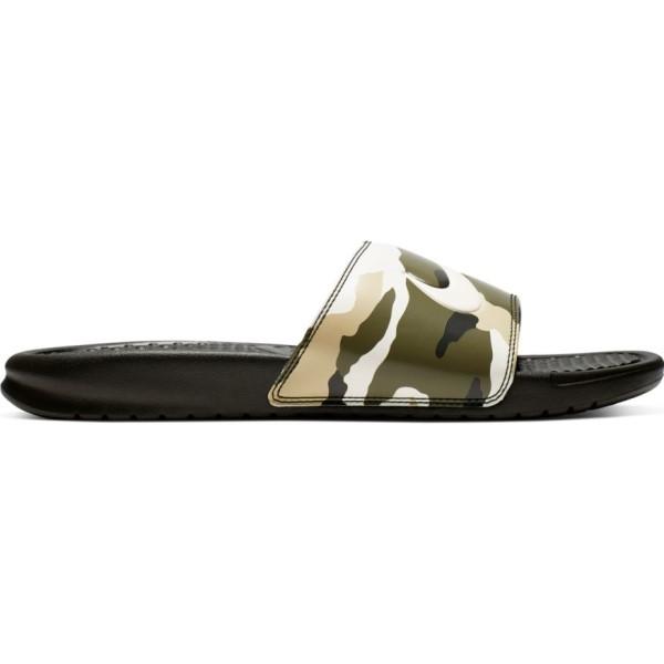 Fitness Mania – Nike Benassi Just Do It Print – Mens Slides – Sequoia/Pale Ivory/Team Gold
