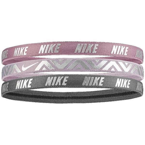 Fitness Mania – Nike Printed Metallic Sports Hairbands – Assorted 3 Pack – Plum Dust/Violet Ash/Gunsmoke