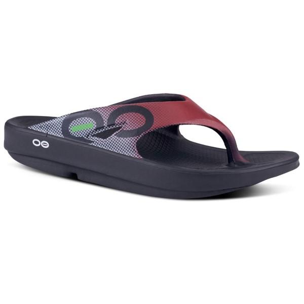 Fitness Mania – OOFOS OOriginal Sport – Unisex Recovery Thongs – Maroon Grid