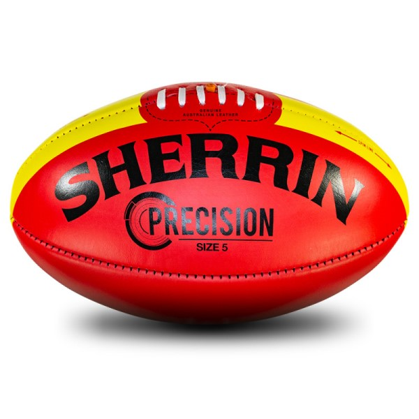 Fitness Mania – Sherrin Precision Leather Football – Size 5 – Red/Yellow
