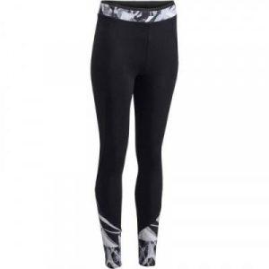 Fitness Mania - 100 Women's Cardio Fitness Leggings - Two-Tone Black/Geometric Print