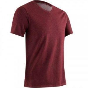 Fitness Mania - 500 Men's V-Neck Slim-Fit Gym & Pilates T-Shirt - Mottled Burgundy