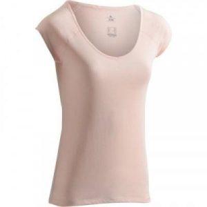 Fitness Mania - 500 Women's Slim-Fit Short Sleeved Gym & Pilates T-Shirt - Desert Rose Pink