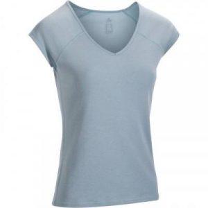 Fitness Mania - 500 Women's Slim-Fit Short-Sleeved Gym & Pilates T-Shirt - Light Blue