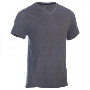 Fitness Mania - 520 Men's V-Neck Slim-Fit Gym & Pilates T-Shirt - Grey Print