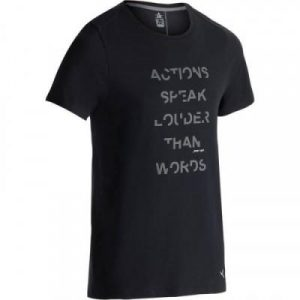 Fitness Mania - 520 Slim-Fit Crew Neck Gym & Pilates T-Shirt - Black Print