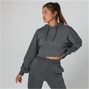 Fitness Mania - Acid Wash Cropped Hoodie - Carbon - XL