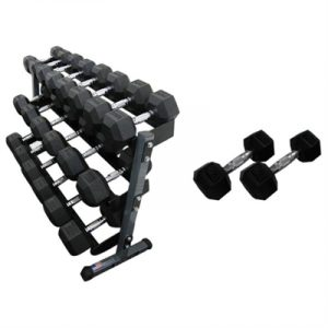 Fitness Mania - 1-20kg Rubber Hex Dumbbell & 3 Tier Rack Package