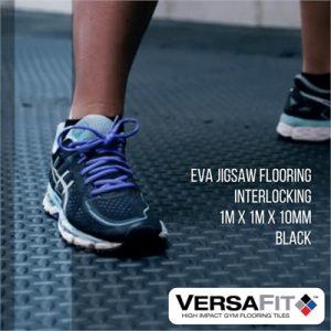 Fitness Mania - VersaFit Flooring - EVA Jigsaw Flooring Tile 1m x 1m x 10mm - Black