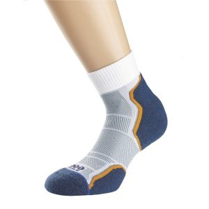 Fitness Mania - 1000 Mile Breeze Anklet Mens Sports Socks - Double Layer Anti Blister - Grey/Navy/Orange Sock