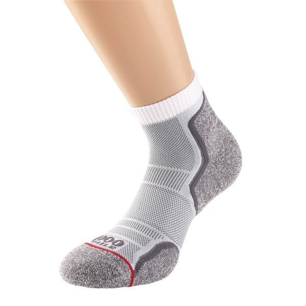 Fitness Mania – 1000 Mile Run Anklet Mens Sports Socks – Twin Pack – White/Grey
