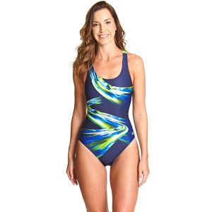 Fitness Mania - Zoggs Ecolast+ Power Actionback Womens One Piece Swimsuit - Navy/Multi